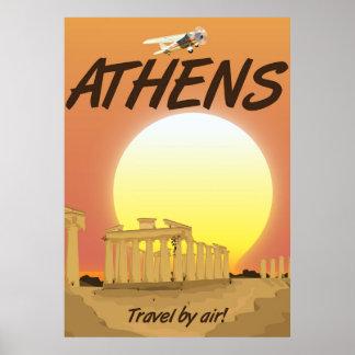 """Puesta del sol de oro del aire de Atenas """"viaje Póster"""