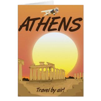 """Puesta del sol de oro del aire de Atenas """"viaje Tarjeta"""