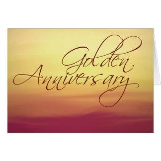 Puesta del sol de oro que casa Anniversay Felicitación
