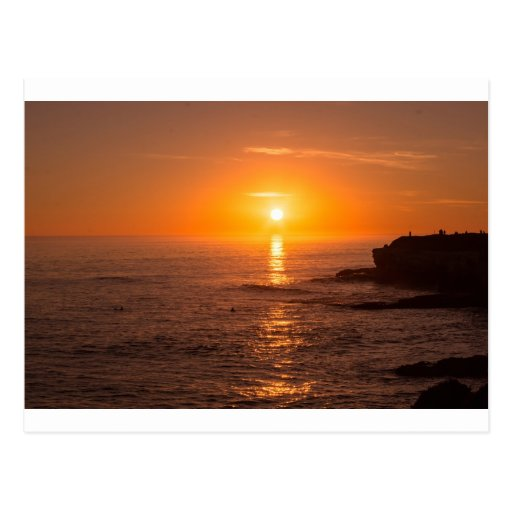Puesta del sol de Santa Cruz Tarjetas Postales