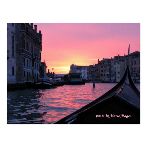 Puesta del sol de Venecia Tarjeta Postal