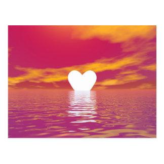 Puesta del sol del amor - 3D rinden Postal