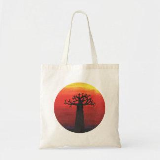 Puesta del sol del baobab bolso de tela