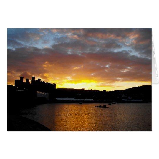 Puesta del sol del castillo de Conwy Tarjeta De Felicitación