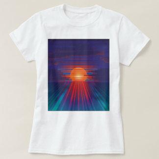 Puesta del sol del código de barras camiseta