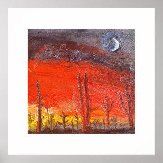 Puesta del sol del desierto póster