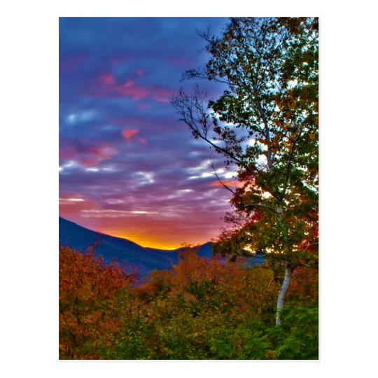 Puesta del sol del follaje de otoño de New Postal