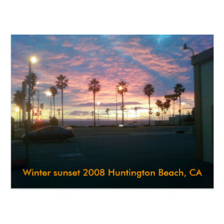 Puesta del sol del invierno Huntington 2008 B… Postal