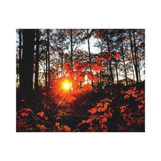 Puesta del sol del otoño impresión en lienzo