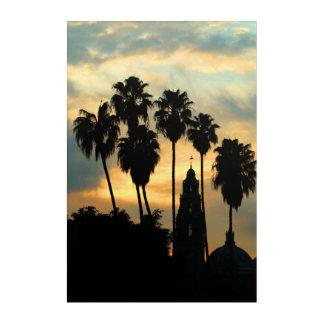 Puesta del sol del parque del balboa impresión acrílica