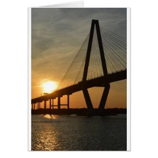 Puesta del sol del puente de Charleston Ravenel Tarjeta De Felicitación