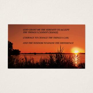 Puesta del sol del rezo de la serenidad tarjeta de visita