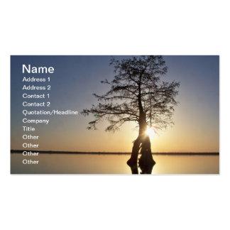 Puesta del sol detrás de un árbol tarjeta de visita