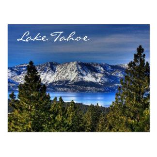 Puesta del sol el lago Tahoe Nevada/postal de Cali Postal