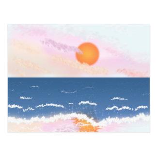 Puesta del sol en colores pastel postal