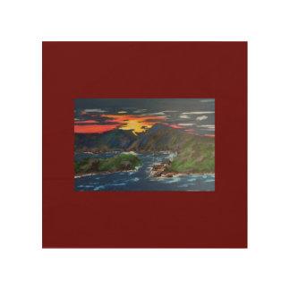 Puesta del sol en el lago mountain de Smith Impresión En Madera