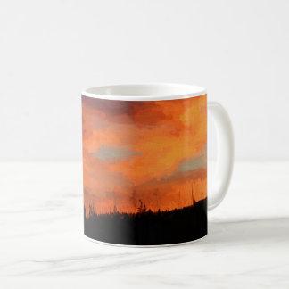Puesta del sol en el lago swan taza de café