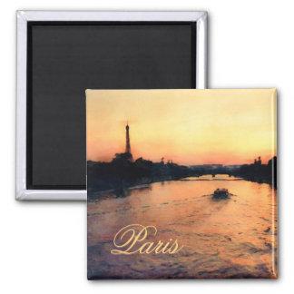 Puesta del sol en el Sena en imán de París,
