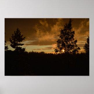 Puesta del sol en Finlandia Póster