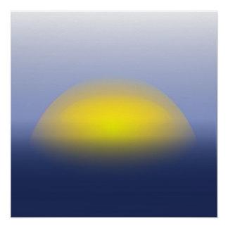 Puesta del sol en la impresión del agua con los