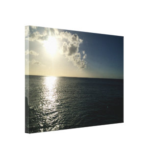 puesta del sol en la lona del océano lienzo