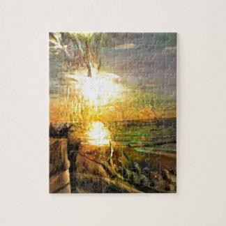 Puesta del sol en la playa puzzle