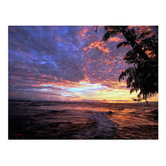 Puesta del sol en la postal de la playa…