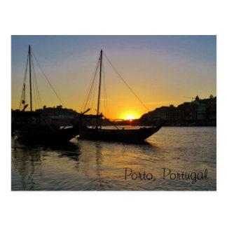 Puesta del sol en la primavera, Oporto Portugal Postal