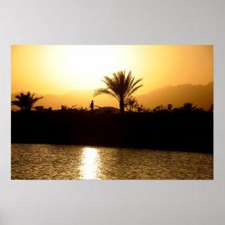 Puesta del sol en Sharm el Sheikh, Egipto Póster