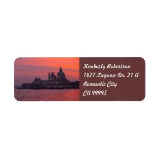 Puesta del sol en Venecia Etiquetas De Remite