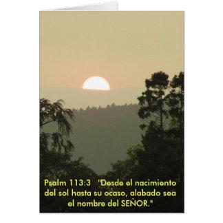 Puesta del sol ESPAÑOLA del texto de la biblia del Tarjeta
