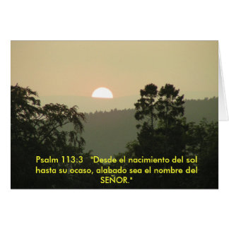 Puesta del sol ESPAÑOLA del texto de la biblia del Felicitaciones