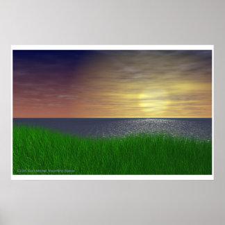 Puesta del sol herbosa póster