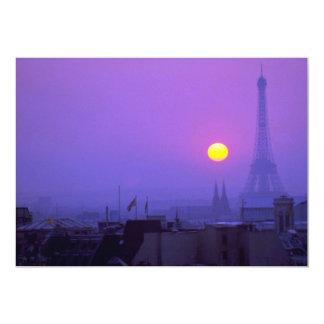 Puesta del sol hermosa: Puesta del sol roja en Invitación 12,7 X 17,8 Cm