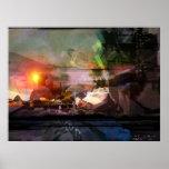 Puesta del sol - impresión abstracta poster