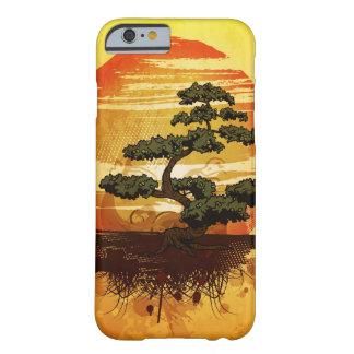 Puesta del sol japonesa del árbol de los bonsais funda de iPhone 6 barely there