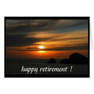 puesta del sol jubilada tarjeta de felicitación