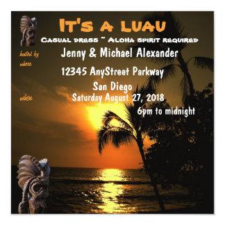 Puesta del sol Luau hawaiano Tiki del océano Invitación 13,3 Cm X 13,3cm