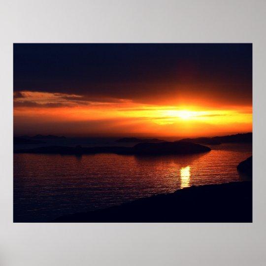 Puesta del sol Noruega 09 Póster
