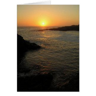 Puesta del sol pacífica tarjeta