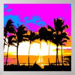 Puesta del sol retra de las palmeras del vintage d posters