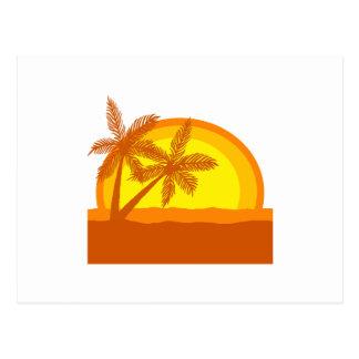 Puesta del sol retra del estilo postal