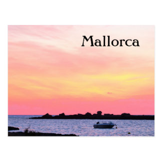 Puesta del sol romántica de Mallorca - postal