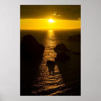 puesta del sol sobre el condado Clare de la cabeza Póster