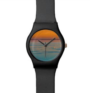 Puesta del sol sobre el lago Balatón, Hungría Reloj De Pulsera