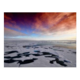 Puesta del sol sobre el Océano ártico Postal