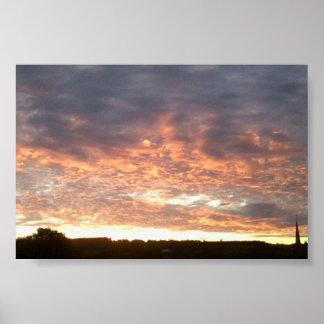 Puesta del sol sobre el poster del valor de
