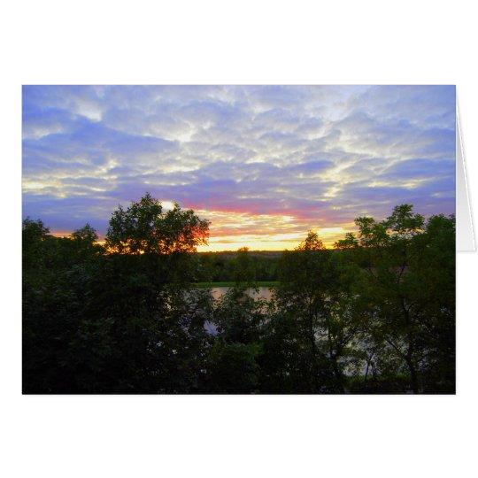 Puesta del sol sobre la charca de Stilwell Tarjeta De Felicitación