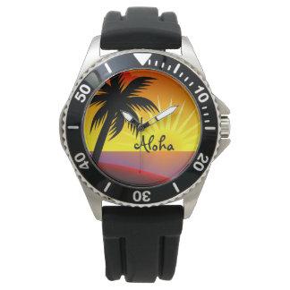 Puesta del sol tropical de la hawaiana hermosa reloj