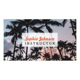 Puesta del sol tropical de relajación de las tarjetas de visita
